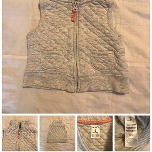 Gray Quilted Zip Front Vest Infant Girls 3 Months